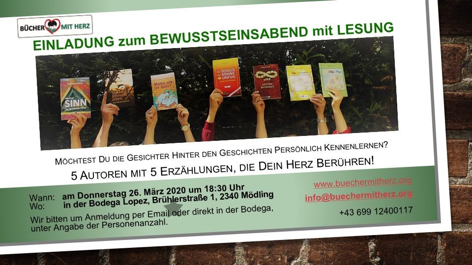 LESUNG ABGESAGT! Donnerstag, 26. März 2020, 18.30 Uhr, Bodega López Mödling … NEUER TERMIN FOLGT!